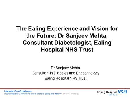 The Ealing Experience and Vision for the Future: Dr Sanjeev Mehta, Consultant Diabetologist, Ealing Hospital NHS Trust Dr Sanjeev Mehta Consultant in Diabetes.
