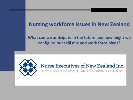 Nursing workforce issues in New Zealand What can we anticipate in the future and how might we configure our skill mix and work force plans?