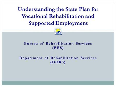 Bureau of Rehabilitation Services (BRS) Department of Rehabilitation Services (DORS) Understanding the State Plan for Vocational Rehabilitation and Supported.