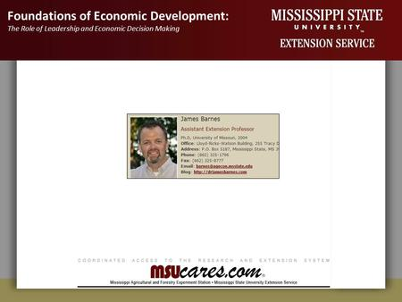 Foundations of Economic Development: The Role of Leadership and Economic Decision Making.