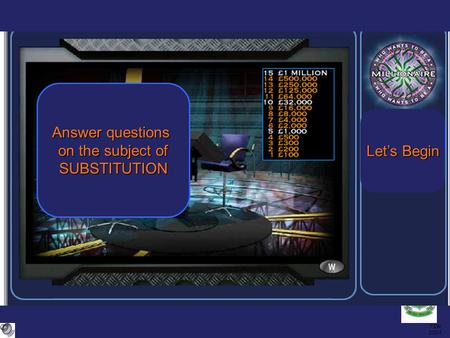 TIW 2004 Answer questions on the subject of SUBSTITUTION Let's Begin Let's Begin.