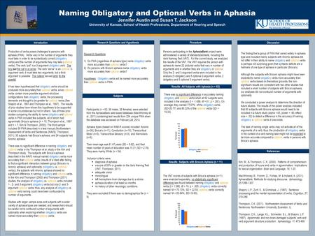 TEMPLATE DESIGN © 2008 www.PosterPresentations.com Naming Obligatory and Optional Verbs in Aphasia Jennifer Austin and Susan T. Jackson University of Kansas,