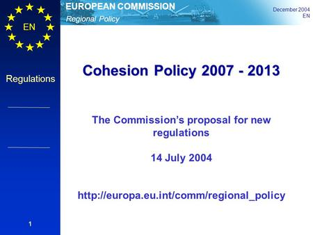 The Commission's proposal for new regulations