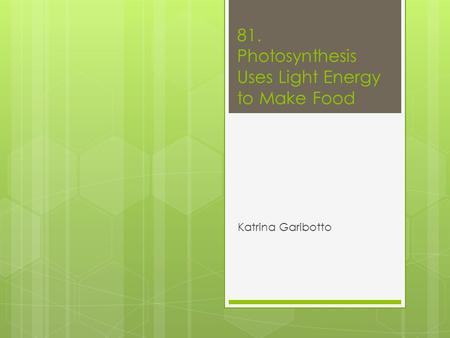 81. Photosynthesis Uses Light Energy to Make Food Katrina Garibotto.