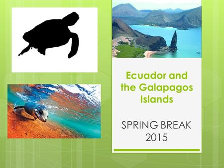 Ecuador and the Galapagos Islands SPRING BREAK 2015.