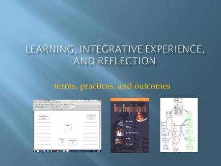 Terms, practices, and outcomes. What connections do we make? What about those connections is meaningful?  across courses  through reflection  linked.