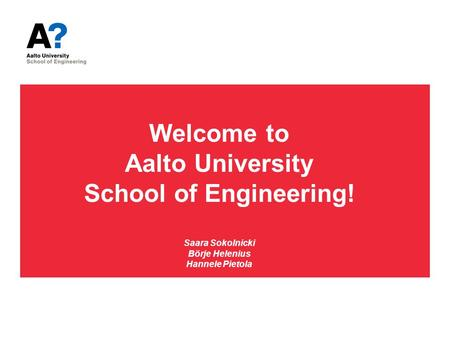 Welcome to Aalto University School of Engineering