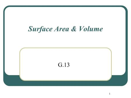 Surface Area & Volume G.13.