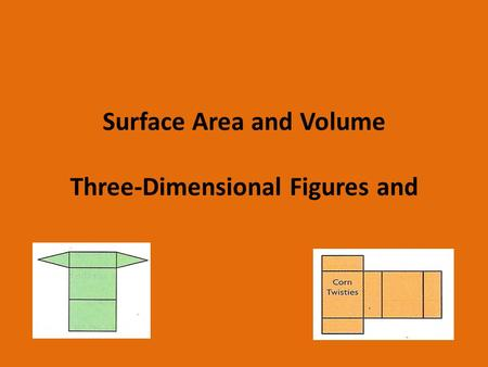 Surface Area and Volume Three-Dimensional Figures and.