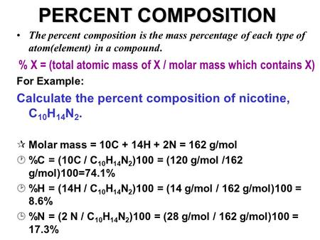 % X = (total atomic mass of X / molar mass which contains X)