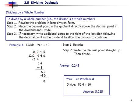 . Dividing by a Whole Number
