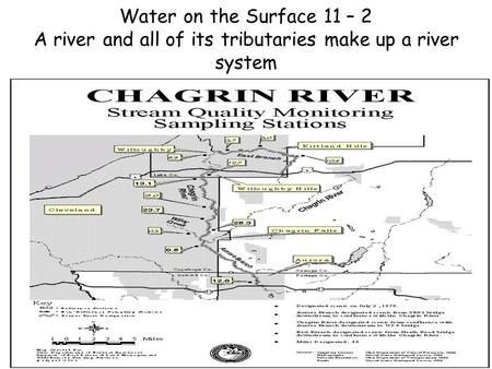 Water on the Surface 11 – 2 A river and all of its tributaries make up a river system.