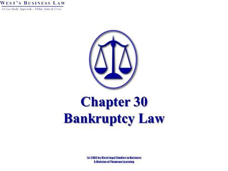Chapter 30 Bankruptcy Law. 2 Bankruptcy and Reorganization Article I, Section 8 of the U.S. Constitution. Federal jurisdiction. Bankruptcy Reform Act.