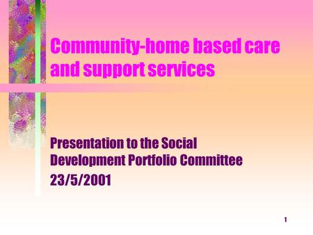1 Community-home based care and support services Presentation to the Social Development Portfolio Committee 23/5/2001.