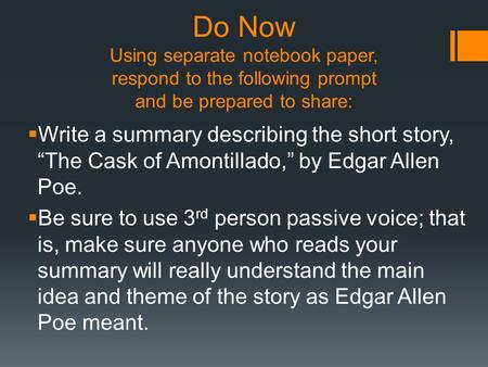 a reading report on the cask of amontillado by edgar allan poe Read the cask of amontillado (poem of edgar allan poe's short story) from the story creepy poems by fastlyfallen (kaiti) with 379 readsembraced with darkness.