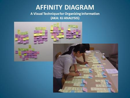 AFFINITY DIAGRAM A Visual Technique for Organizing Information (AKA: KJ ANALYSIS)