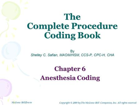 The Complete Procedure Coding Book By Shelley C