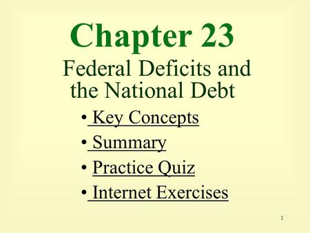 1 Chapter 23 Federal Deficits and the National Debt Key Concepts Key Concepts Summary Practice Quiz Internet Exercises Internet Exercises.