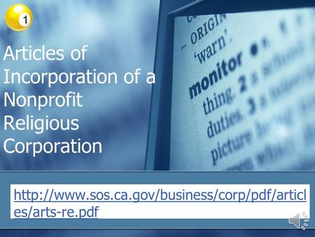 Articles of Incorporation of a Nonprofit Religious Corporation  es/arts-re.pdf.