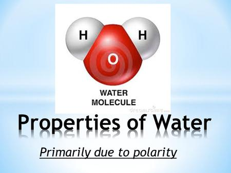 "Primarily due to polarity. Video1 ""Properties of water"" Video1 ""Properties of water"" – 4 ½ min Why is ice less dense than water? How does ice floating."