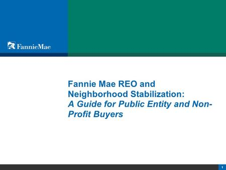 1 Fannie Mae REO and Neighborhood Stabilization: A Guide for Public Entity and Non- Profit Buyers.