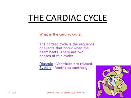 OCT 2009Dr Nyoman W / Dr DENNY AGUSTININGSIH1 THE CARDIAC CYCLE What is the cardiac cycle. The cardiac cycle is the sequence of events that occur when.
