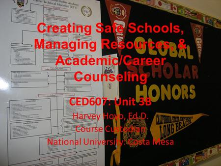 Creating Safe Schools, Managing Resources, & Academic/Career Counseling CED607: Unit 3B Harvey Hoyo, Ed.D. Course Custodian National University: Costa.