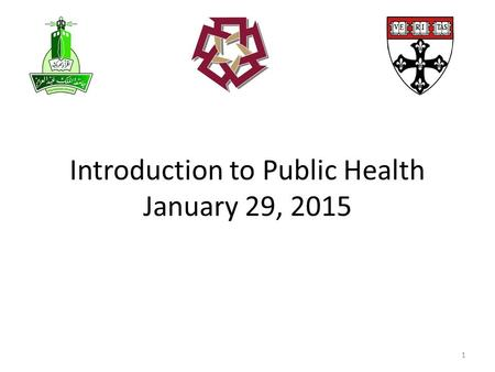 Introduction to Public Health January 29, 2015 1.