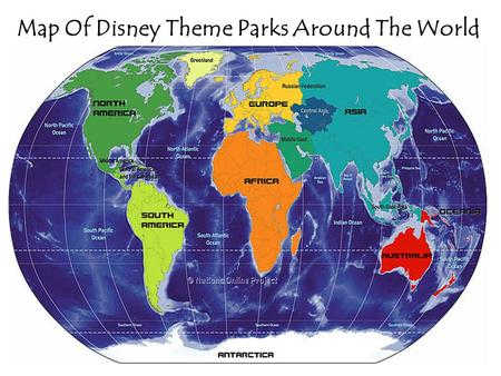 Map Of Disney Theme Parks Around The World. Orlando, Florida United States of America.