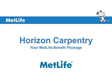 ©UFS Horizon Carpentry Your MetLife Benefit Package.
