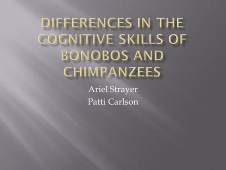 Ariel Strayer Patti Carlson.  Chimpanzees and Bonobos are humans' closets living relatives.  Despite this closeness, their behaviors differ in many.