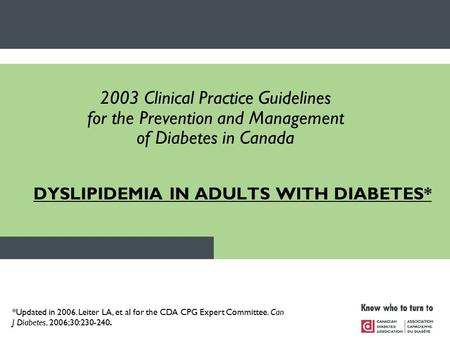 DYSLIPIDEMIA IN ADULTS WITH DIABETES* 2003 Clinical Practice Guidelines for the Prevention and Management of Diabetes in Canada *Updated in 2006. Leiter.
