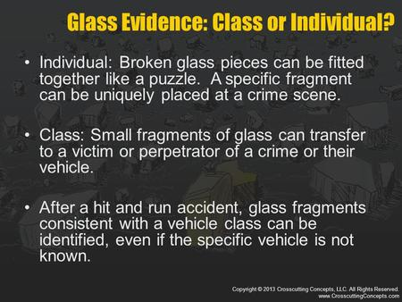 Copyright © 2013 Crosscutting Concepts, LLC. All Rights Reserved. www.CrosscuttingConcepts.com Individual: Broken glass pieces can be fitted together like.