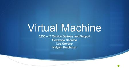 Virtual Machine 5205 – IT Service Delivery and Support Darshana Shardha Leo Serrano Kalyani Prabhakar.