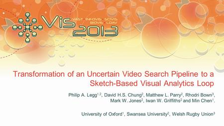 Transformation of an Uncertain Video Search Pipeline to a Sketch-Based Visual Analytics Loop Philip A. Legg 1,2, David H.S. Chung 2, Matthew L. Parry 2,