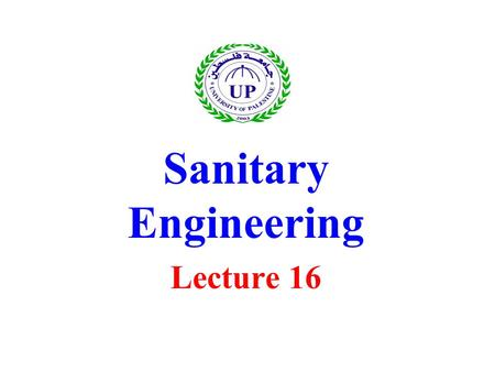 Sanitary Engineering Lecture 16