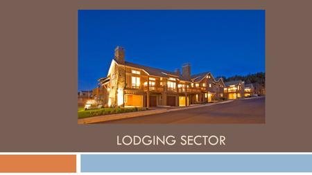 LODGING SECTOR. lodging Functions In Lodging Each lodging business is unique, yet each one has to perform the same functions. In a small business one.