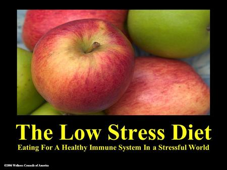 ©2006 Wellness Councils of America The Low Stress Diet Eating For A Healthy Immune System In a Stressful World ©2006 Wellness Councils of America.