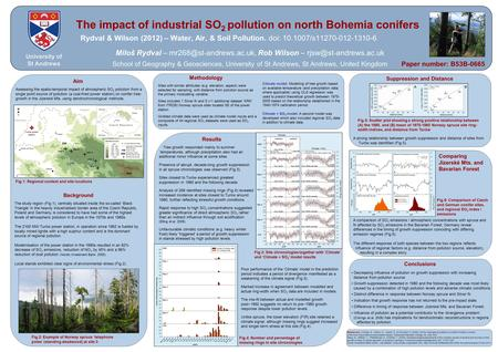 The impact of industrial SO 2 pollution on north Bohemia conifers Rydval & Wilson (2012) – Water, Air, & Soil Pollution. doi: 10.1007/s11270-012-1310-6.