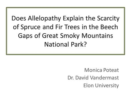 Does Allelopathy Explain the Scarcity of Spruce and Fir Trees in the Beech Gaps of Great Smoky Mountains National Park? Monica Poteat Dr. David Vandermast.
