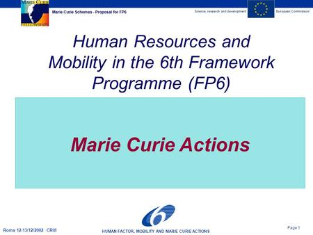 Science, research and developmentEuropean Commission HUMAN FACTOR, MOBILITY AND MARIE CURIE ACTIONS Page 1 Marie Curie Schemes - Proposal for FP6 Roma.
