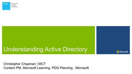 Christopher Chapman | MCT Content PM, Microsoft Learning, PDG Planning, Microsoft.