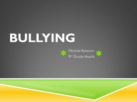 BULLYING Michele Relation 9 th Grade Health WHAT IS BULLYING?  Unwanted, aggressive behavior  Includes such actions as:  Teasing  Making threats.