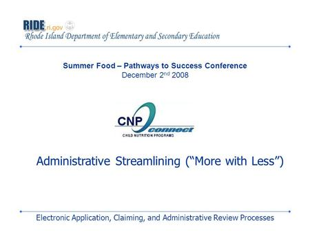 Electronic Application, Claiming, and Administrative Review Processes Summer Food – Pathways to Success Conference December 2 nd 2008 Administrative Streamlining.