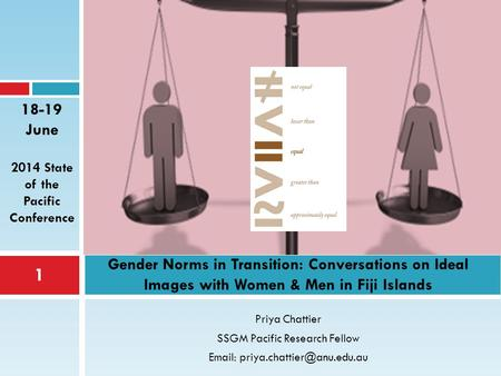 Priya Chattier SSGM Pacific Research Fellow   Gender Norms in Transition: Conversations on Ideal Images with Women & Men.
