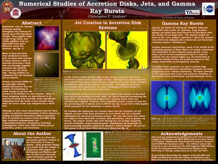 Numerical Studies of Accretion Disks, Jets, and Gamma Ray Bursts Gamma ray bursts (GRB) are an especially exciting outflow phenomena that are capable of.