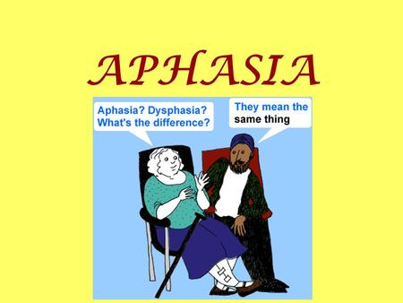 APHASIA. What is Aphasia? Aphasia is a total or partial loss of the ability to use words.