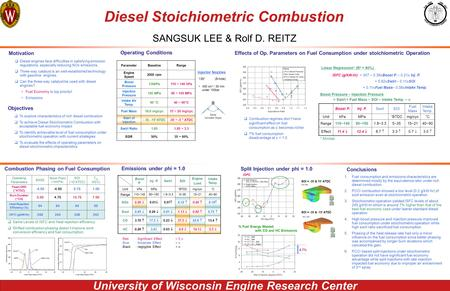 University of Wisconsin Engine Research Center Diesel Stoichiometric Combustion SANGSUK LEE & Rolf D. REITZ Motivation  Diesel engines face difficulties.