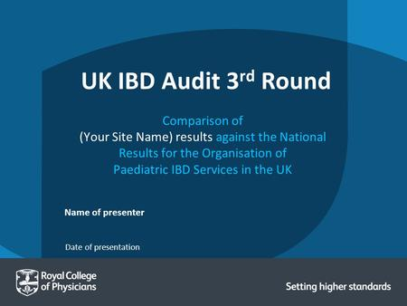 Date of presentation Name of presenter UK IBD Audit 3 rd Round Comparison of (Your Site Name) results against the National Results for the Organisation.