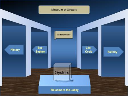 Museum Entrance Welcome to the Lobby History Eco- System Salinity Life- Cycle Museum of Oysters Visit the Curator Oysters.
